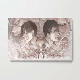 Shingeki no Kyojin digital anime boys anime girls anime Metal Print