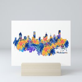 Melbourne Watercolor Skyline Mini Art Print