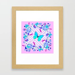 Turquoise Blue Butterflies Morning Glories Abstract Pattern Framed Art Print