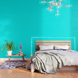 Neon Aqua Blue Bright Electric Fluorescent Color Wallpaper
