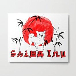 Red Sun Shiba Inu Metal Print