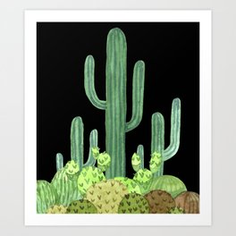 Night Desert Prickly Cactus Bunch Art Print