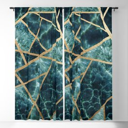 Deep Teal and Gold Stone Art Print Blackout Curtain