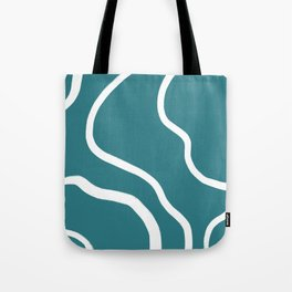 Contemporary Teal and White Abstract Tote Bag