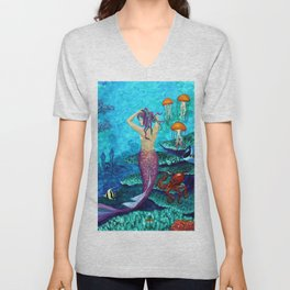A Fish of a Different Color - Mermaid and seaturtle Unisex V-Neck