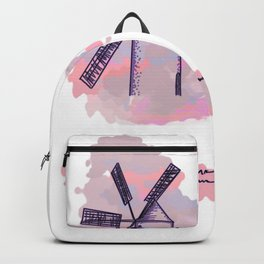 2 mill on pink and blue background . artwork Backpack