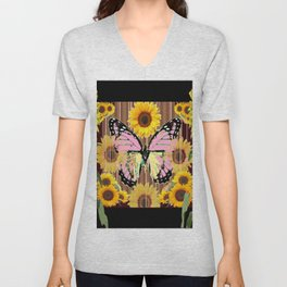 BLACK ABSTRACT PINK BUTTERFLY SUNFLOWER FLORAL Unisex V-Neck