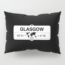 Glasgow Scotland GPS Coordinates Map Artwork with Compass Pillow Sham