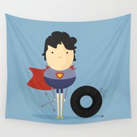 super hero Wall Tapestries featuring My Super hero! by Juliana Rojas | Puchu