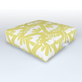 Yellow and White Flowers Outdoor Floor Cushion