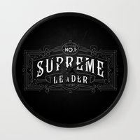 supreme Wall Clocks featuring Supreme Leader by UiNi