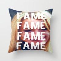 lindsay lohan Throw Pillows featuring FAME - LINDSAY LOHAN by Beauty Killer Art