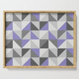 Purple & gray modern triangles pattern Serving Tray