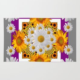 GREY & WHITE DAISIES FLORAL ABSTRACT & YELLOW SUNFLOWERS Rug