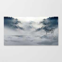 Wolves Among the Snowcapped Mountain Canvas Print