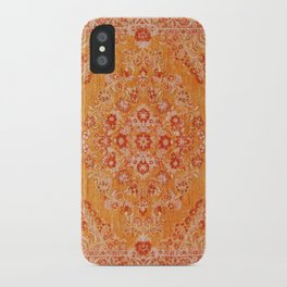 N78 - Orange Antique Oriental Berber Moroccan Style Carpet Design. iPhone Case