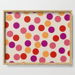 Edemama - Abstract Colorful Retro Dots Vintage Vibe Dotted Pattern Serving Tray