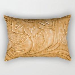 Golden Tan Tooled Leather Rectangular Pillow