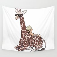 niall Wall Tapestries featuring Niall and His Giraffe by Ashley R. Guillory