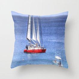 Barbados Blue Sea Catamaran Throw Pillow