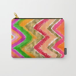 Shocking Pink & Gold Ikat Carry-All Pouch