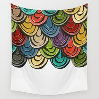 scales Wall Tapestries featuring scallop scales by Sharon Turner