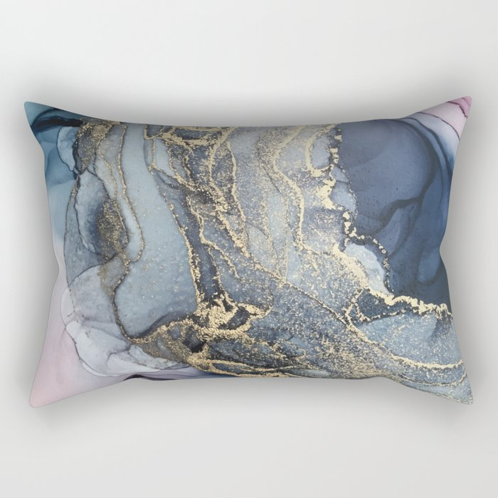Blush, Payne's Gray and Gold Metallic Abstract Rectangular Pillow
