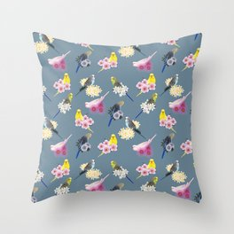 Many Budgies Throw Pillow
