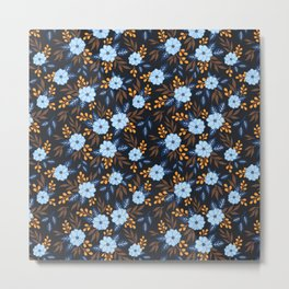 Soft Blue Florals Metal Print