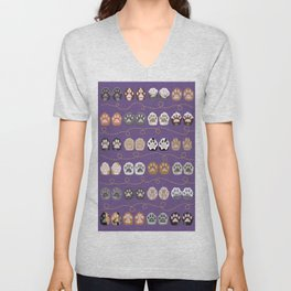 Toe Beans on Purple / Cat Paws Unisex V-Neck
