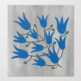 Blue Bell Flowers on Silver Background – Blue Bell – Scandinavian Folk Art Canvas Print