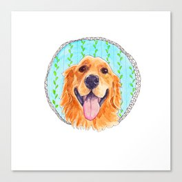 You're Never Fully Dressed without a Smile, Golden Retriever, Whimsical Watercolor Painting, Grey Canvas Print