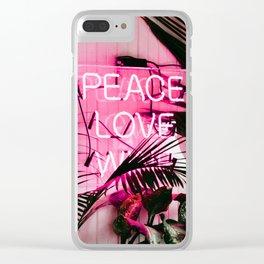 Tropical, Palm, Nature, Pink, Scandinavian, Minimal, Modern, Wall art Clear iPhone Case