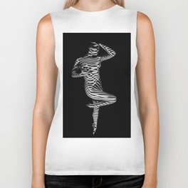 7421-KMA Striped Woman on Point Sensual Lines Of Light Biker Tank