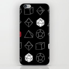 Black Dungeons and Dragons Dice Set Pattern iPhone Skin