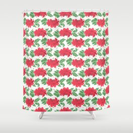 Watercolor Winter Red Flowers Gold Dots Artwork Shower Curtain