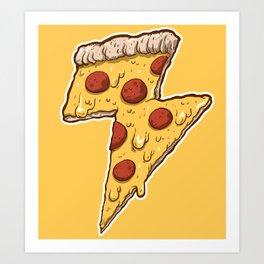 Thunder Cheesy Pizza Art Print