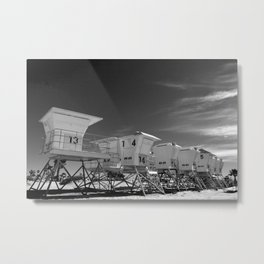 BEACH - California Beach Towers - Monochrome Metal Print