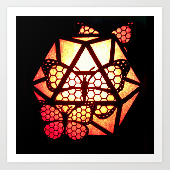 Burning Butterfly Lantern  Art Print