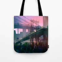 dumbo Tote Bags featuring DUMBO Bridge by E.R.