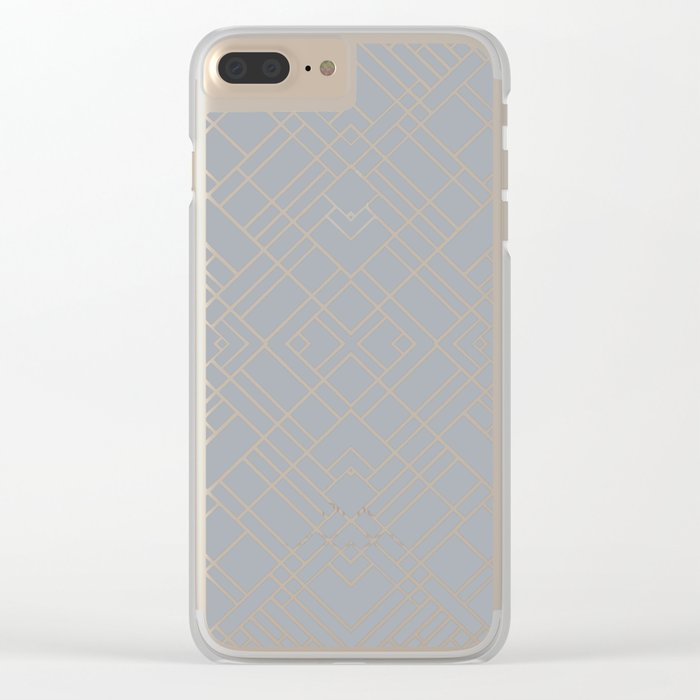 Map Outline 45 Grey Repeat Clear iPhone Case