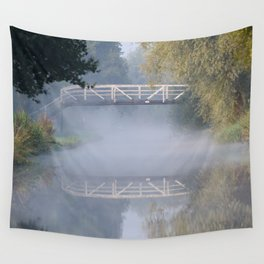 Canal bridge in the mist Wall Tapestry