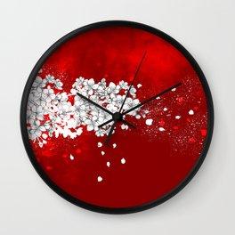 Red skies and white sakuras Wall Clock