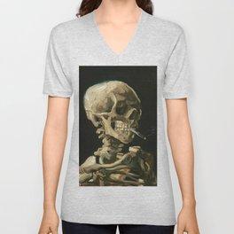 Skull of a Skeleton with Burning Cigarette by Vincent van Gogh Unisex V-Neck