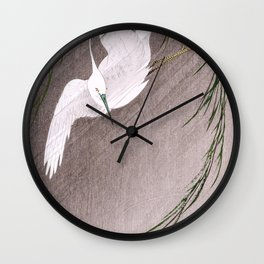 Koson Ohara - Egret in Storm - Japanese Vintage Woodblock Painting Wall Clock