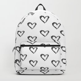 Hand drawn black watercolor romantic valentine's heart Backpack