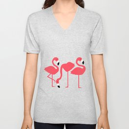 fluorescent flamingos Unisex V-Neck