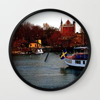 sweden Wall Clocks featuring Stockholm, Sweden  by JuliHami