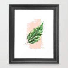 Fern Leaf on Pink Framed Art Print