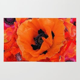 DECORATIVE ORANGE POPPY FLOWERS COMPOSITION Rug
